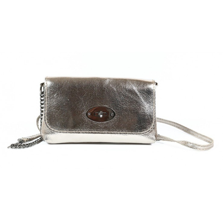 Leather Pochette 627 bronze Made in Italy