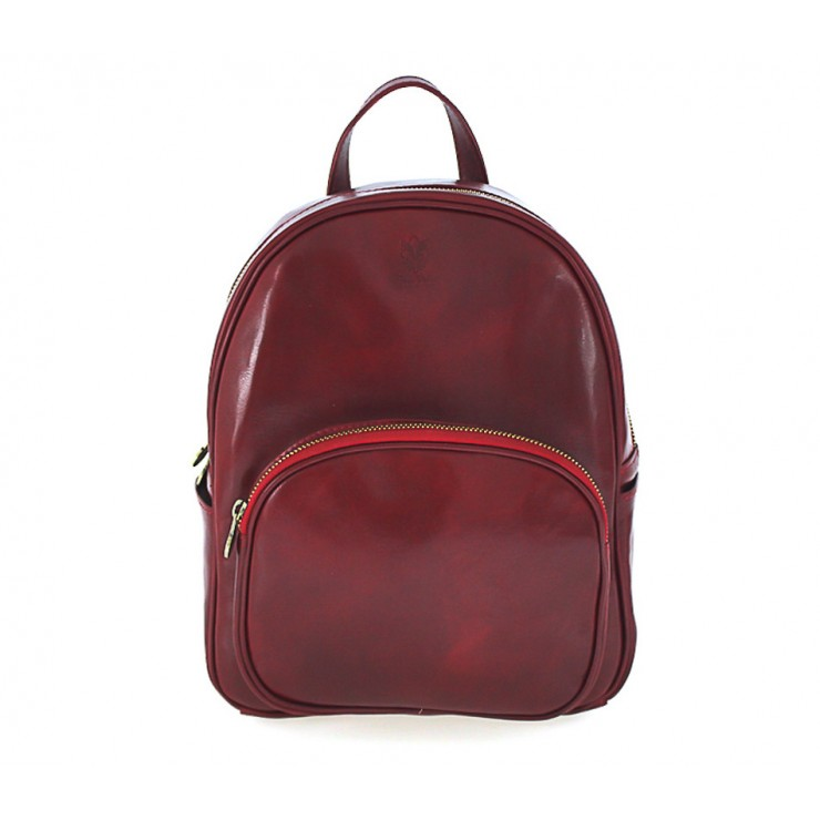 Leather backpack 5341 red