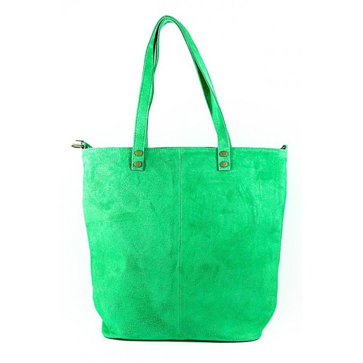 Zelená kožená kabelka na rameno v úprave semiš 768 MADE IN ITALY