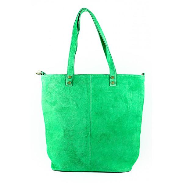 Zelená kožená kabelka na rameno v úprave semiš 768 MADE IN ITALY Zelená
