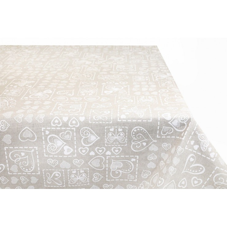 Tablecloth White butterflies and hearts  Made in Italy