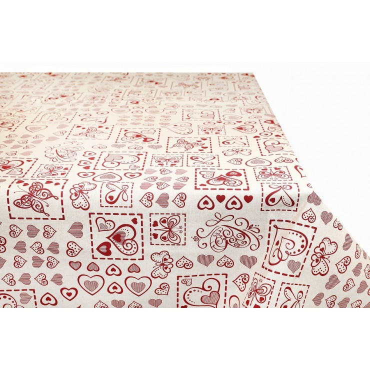 Tablecloth Red butterflies and hearts  Made in Italy