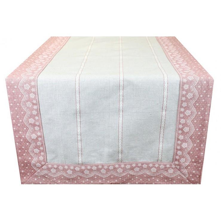 Běhoun na stůl pudrovo růžový