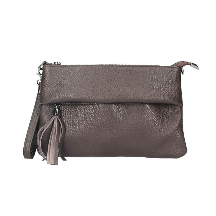 Genuine Leather Handbag 1492 dark brown