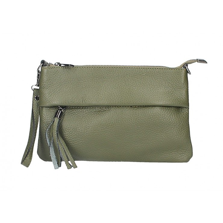 Genuine Leather Handbag 1492 military green Made in Italy