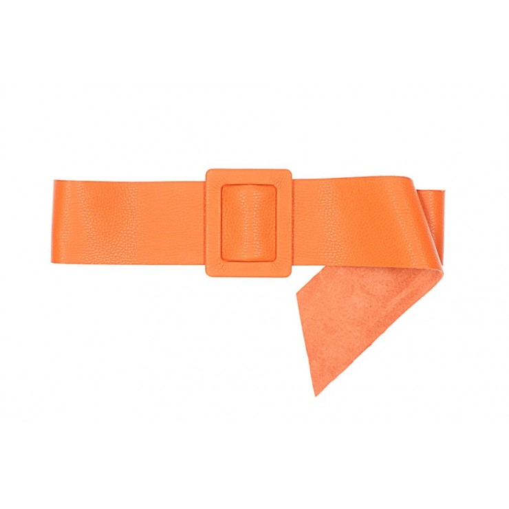 Women leather belt 1217 orange Made in Italy