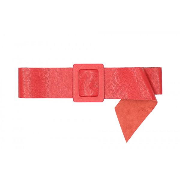 Dámsky kožený opasok 1217 červený Made in Italy Červená 113 cm