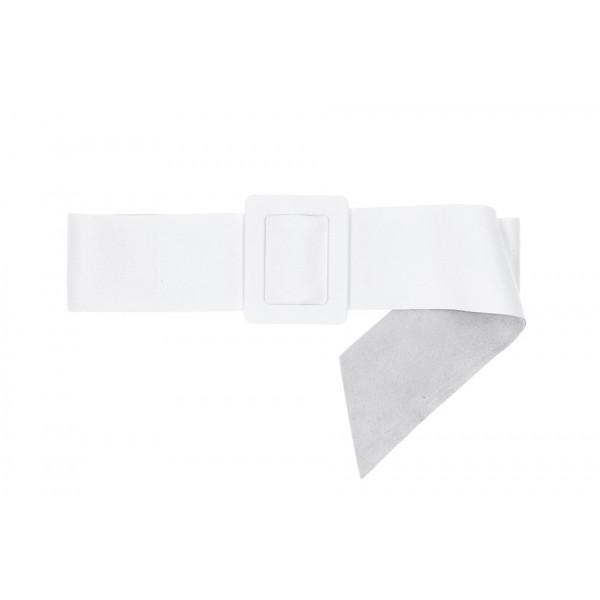 Dámsky kožený opasok 1217 biely Made in Italy Biela 113 cm