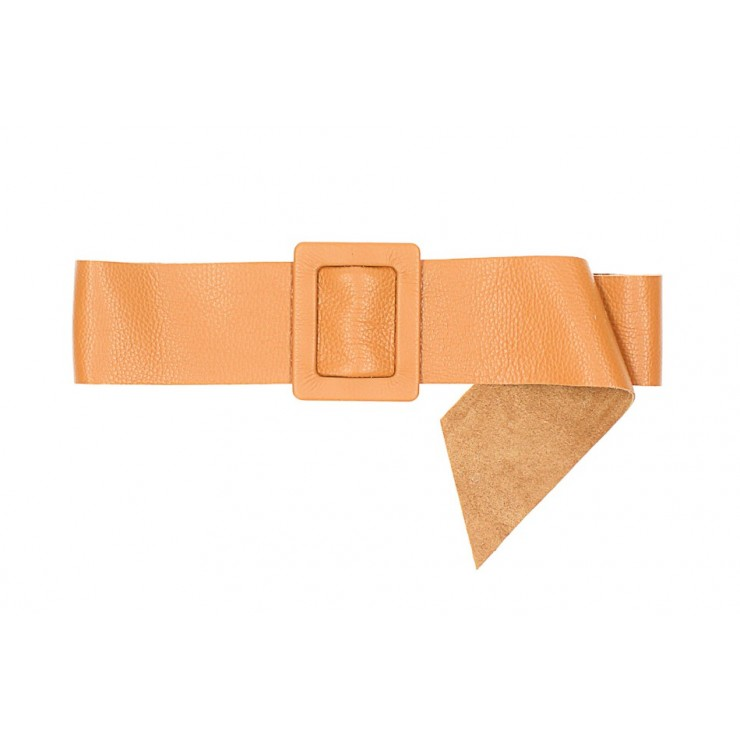 Women leather belt 1217 cognac Made in Italy