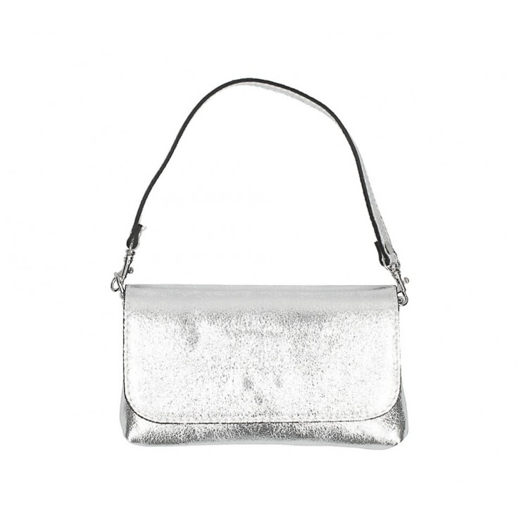 Genuine Leather HandBag 1219 silver Mady in Italy