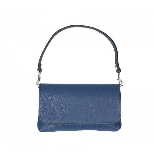 Kožená kabelka 1219 modrá Made in Italy Modrá