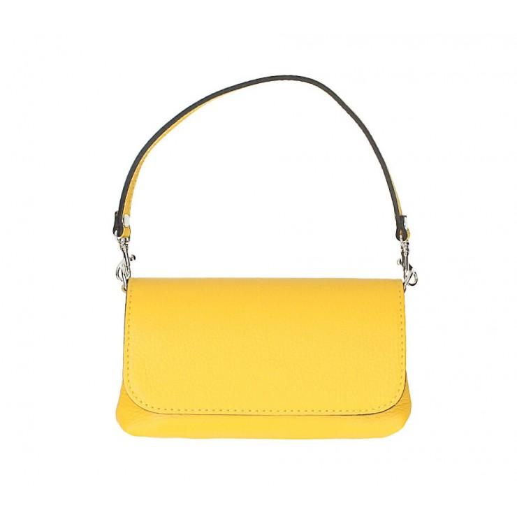 Kožená kabelka 1219 žltá Made in Italy