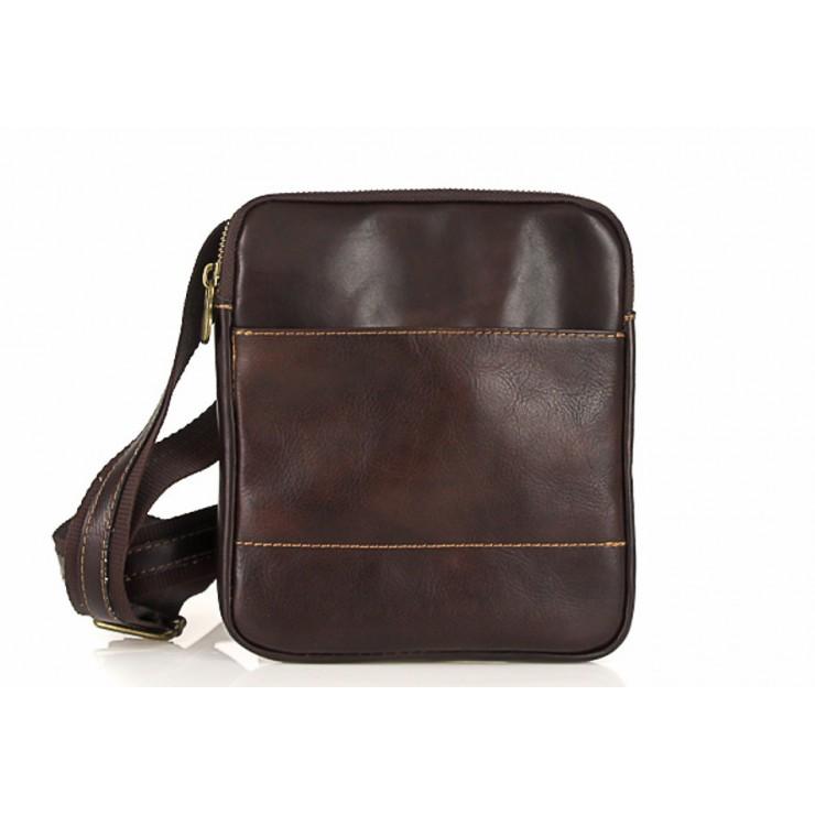 Pánska kožená taška na rameno  383 tmavohnedá