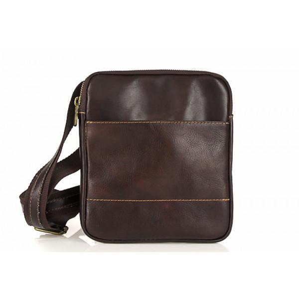 Pánska kožená taška na rameno 383 tmavohnedá Made in Italy Hnedá