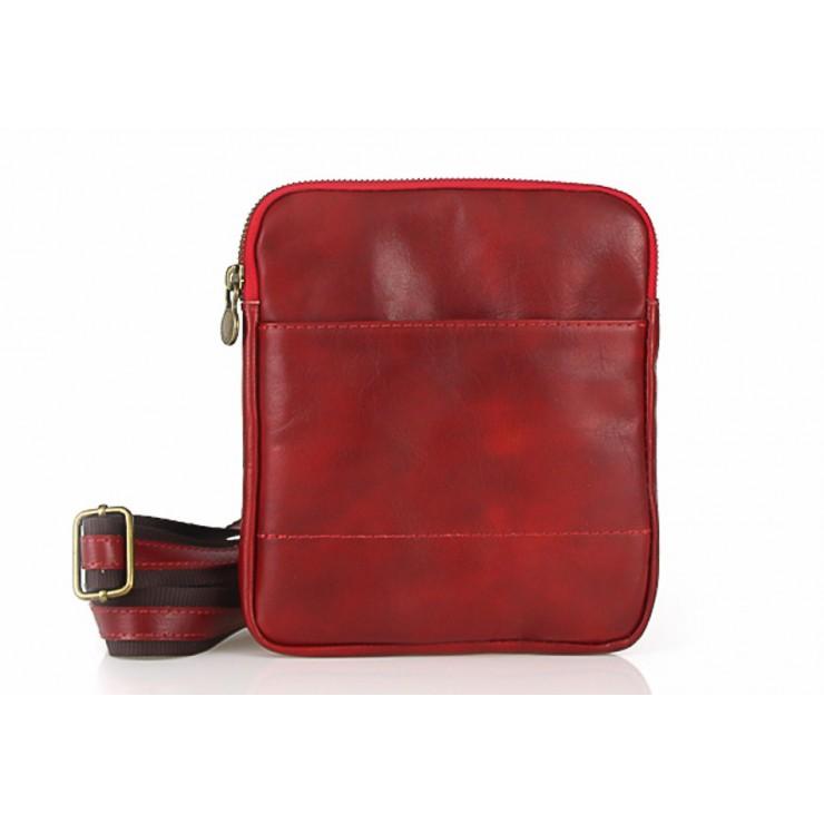 Pánska kožená taška na rameno 383 červená Made in Italy