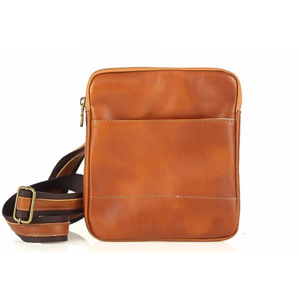 Pánska kožená taška na rameno 383 koňaková Made in Italy Koňak