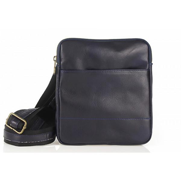 Pánska kožená taška na rameno 383 modrá Made in Italy Modrá