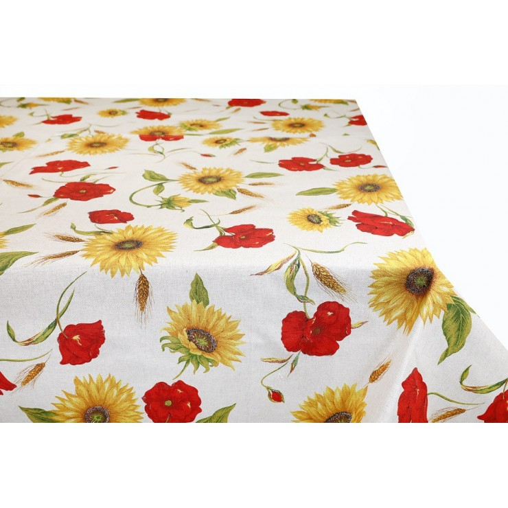 Cotton tablecloth sunflowers and wild poppies Made in Italy