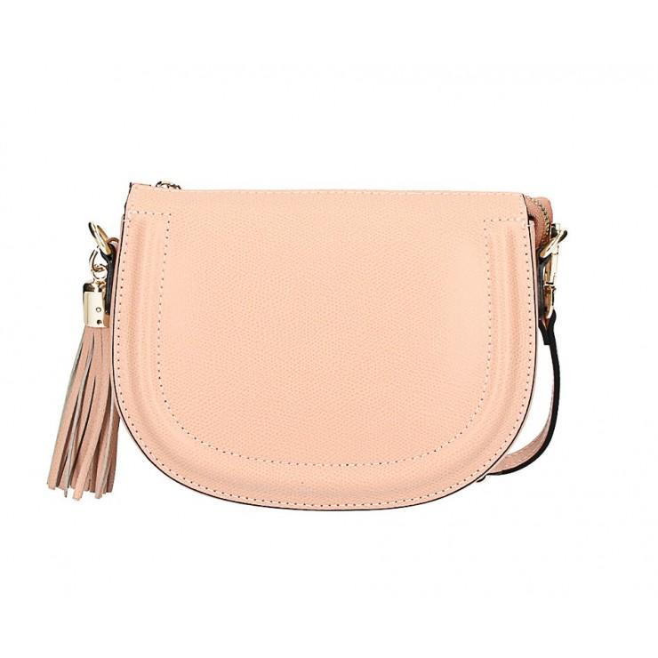 Pudrová ružová kožená kabelka na rameno 1021