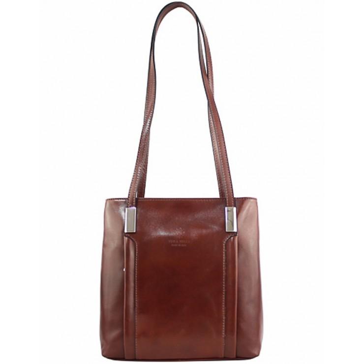 Kožená kabelka na rameno/batoh 432 hnedá Made in Italy