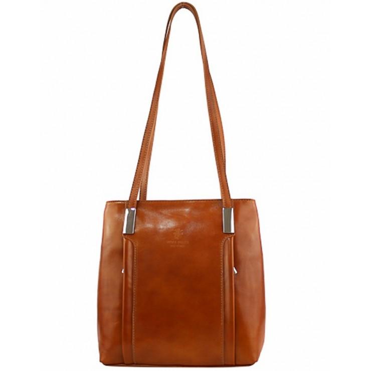 Kožená kabelka na rameno/batoh 432 koňak Made in Italy