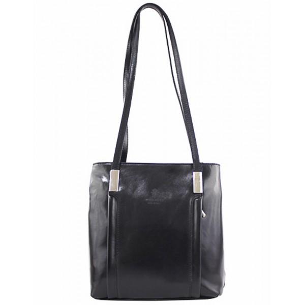 Kožená kabelka na rameno/batoh 432 čierna Made in Italy Čierna