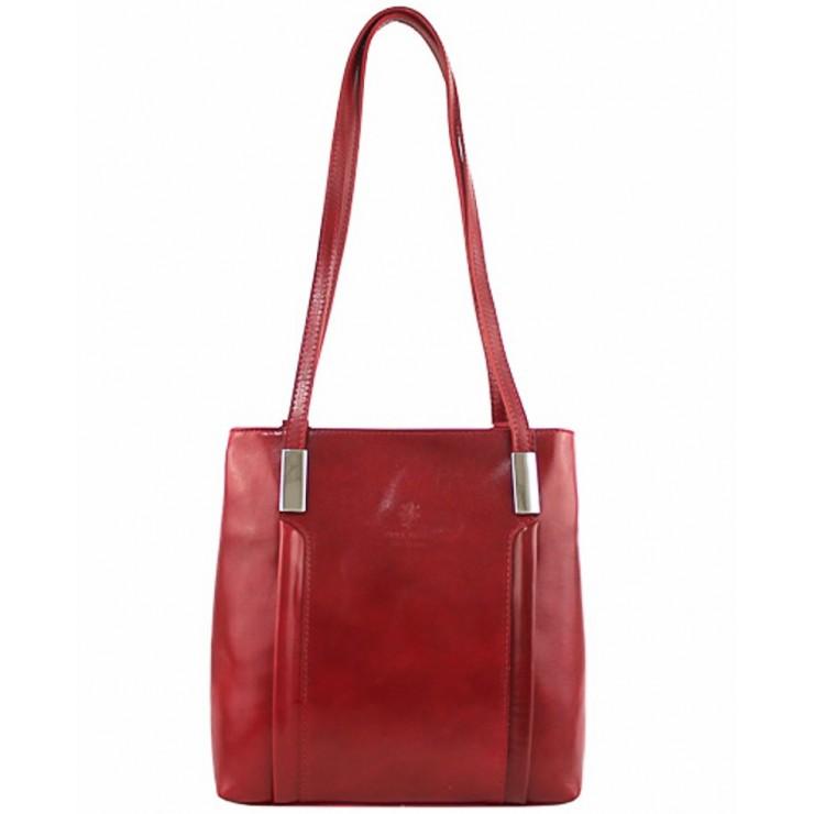 Kožená kabelka na rameno/batoh 432 červená Made in Italy