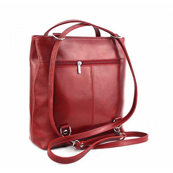 Kožená kabelka na rameno/batoh 432 čierna+červená Made in Italy Čierna