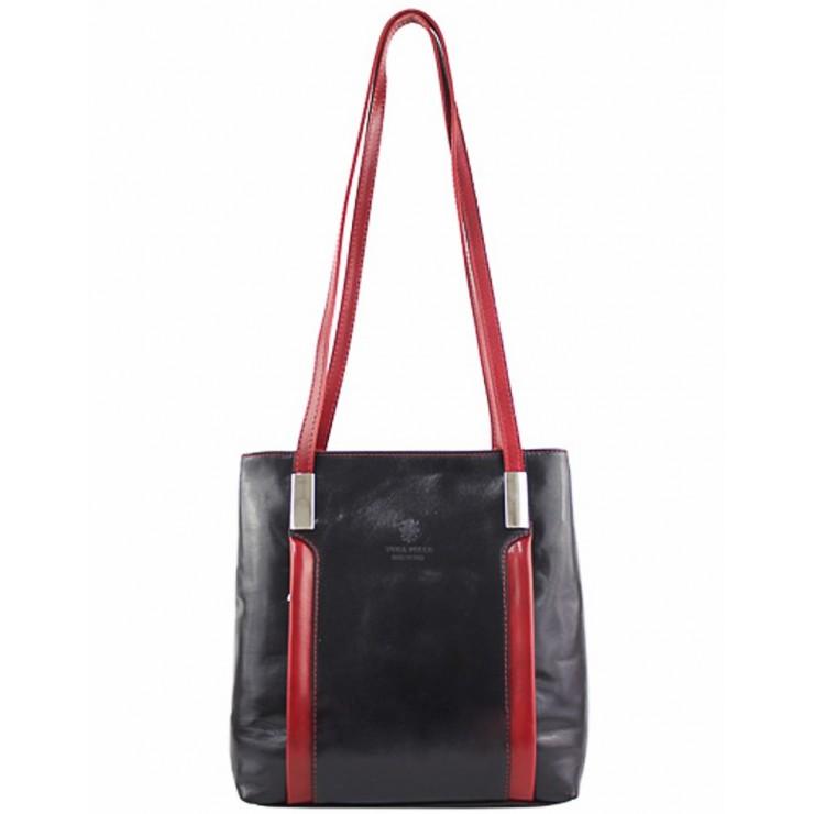 Kožená kabelka na rameno/batoh 432 čierna+červená Made in Italy