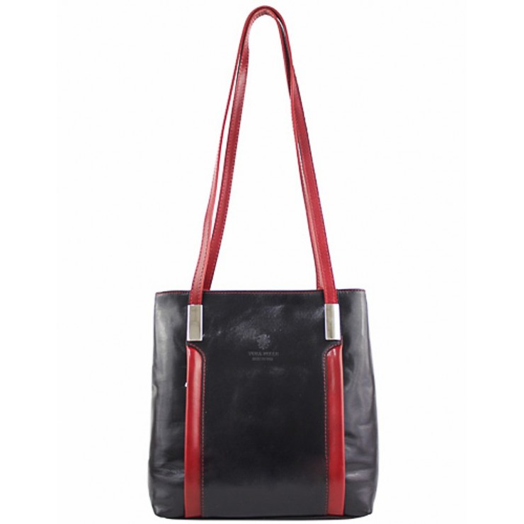 Leather shoulder bag/Backpack 432 black+red Made in Italy