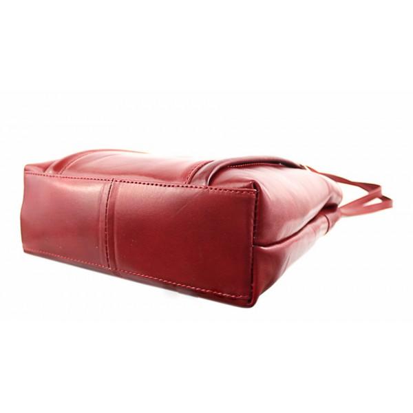 Kožená kabelka na rameno/batoh 432 čierna+hnedá Made in Italy Čierna