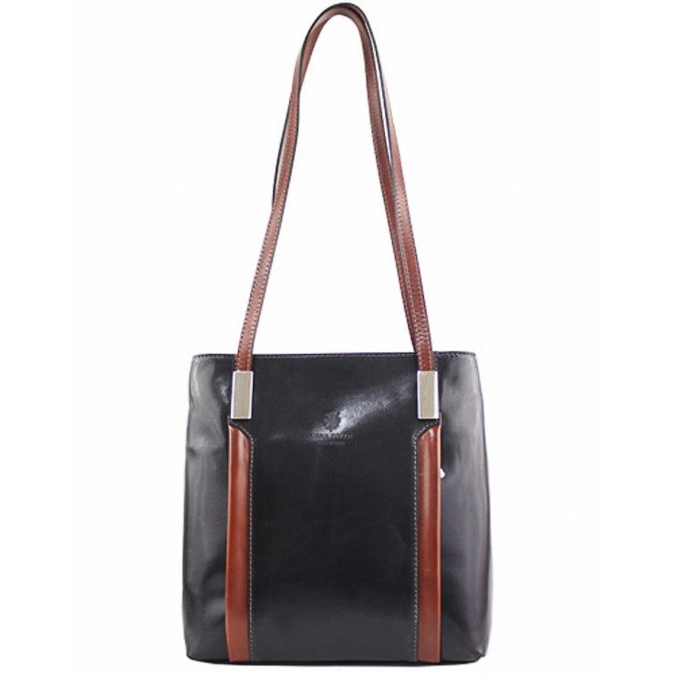 Kožená kabelka na rameno/batoh 432 čierna+hnedá Made in Italy