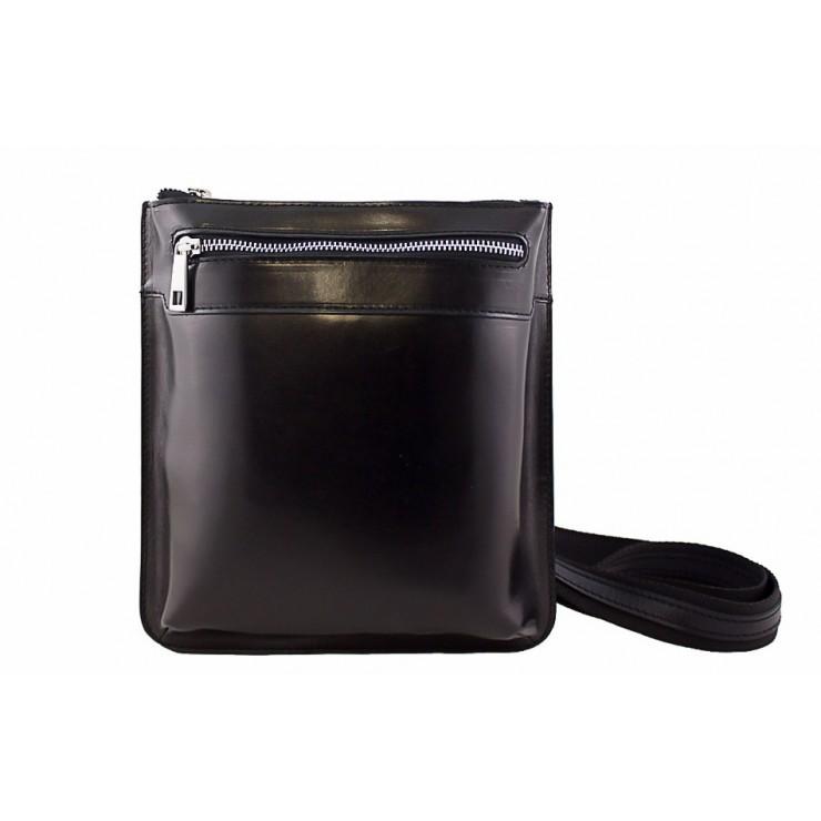 Pánska kožená taška na rameno  6 čierna