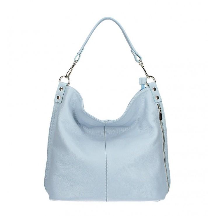 Kožená kabelka na rameno 981 Made in Italy nebesky modrá