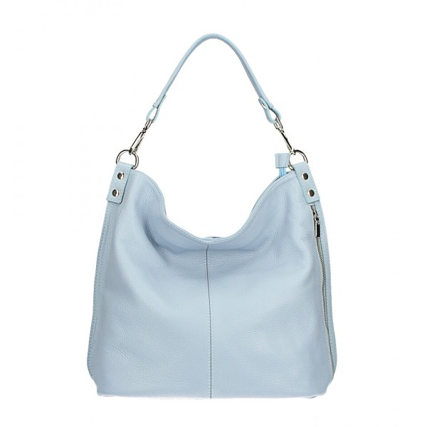 Kožená kabelka na rameno 981 Made in Italy nebesky modrá Nebesky modrá