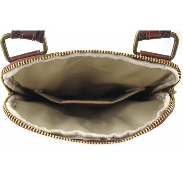 Pánska kožená taška na rameno 383 hnedá Made in Italy Hnedá