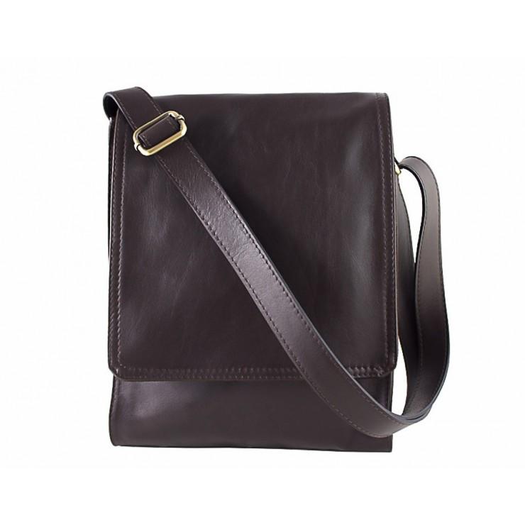 Pánska kožená taška na rameno 504 tmavohnedá