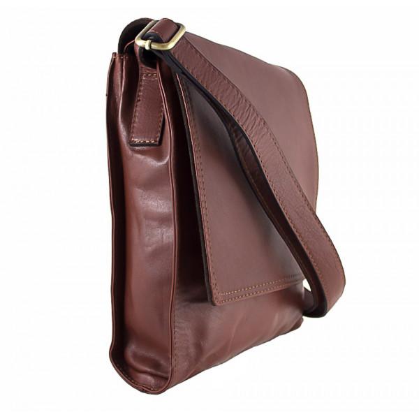 Pánska kožená taška na rameno 504 tmavohnedá Hnedá