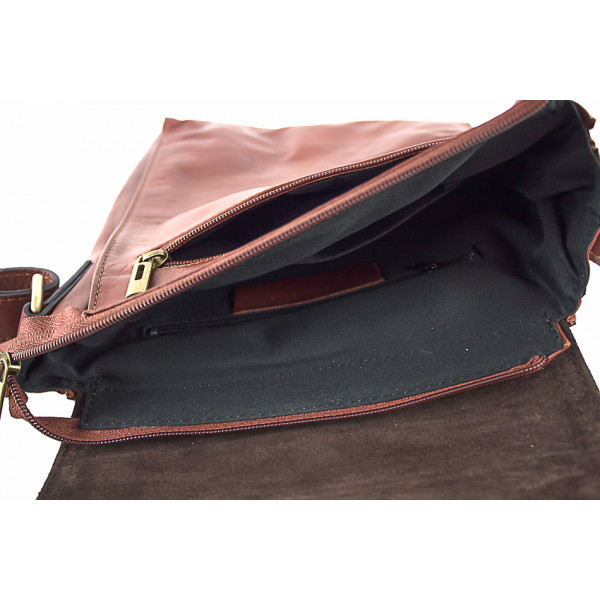 Pánska kožená taška na rameno 504 čierna Čierna