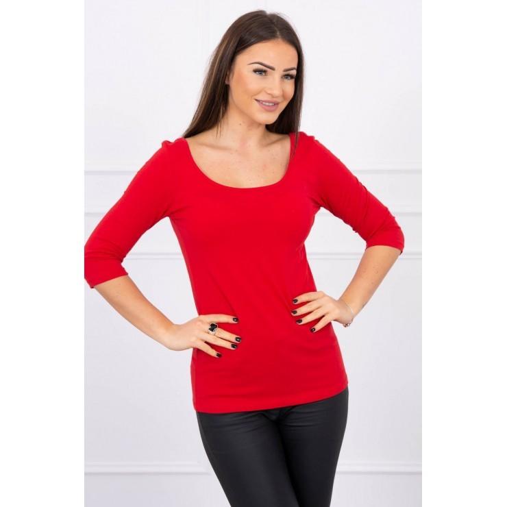 Tričko s okrúhlym výstrihom červené