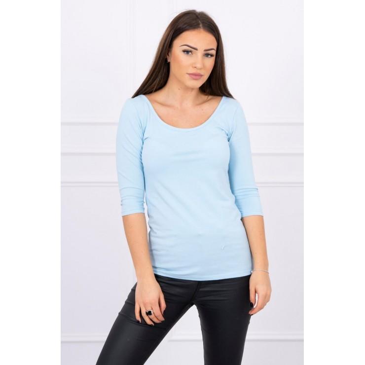 Tričko s okrúhlym výstrihom modré