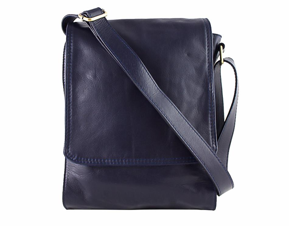 a0e2a8ae2b Pánska kožená taška na rameno 504 modrá - MONDO ITALIA s.r.o.