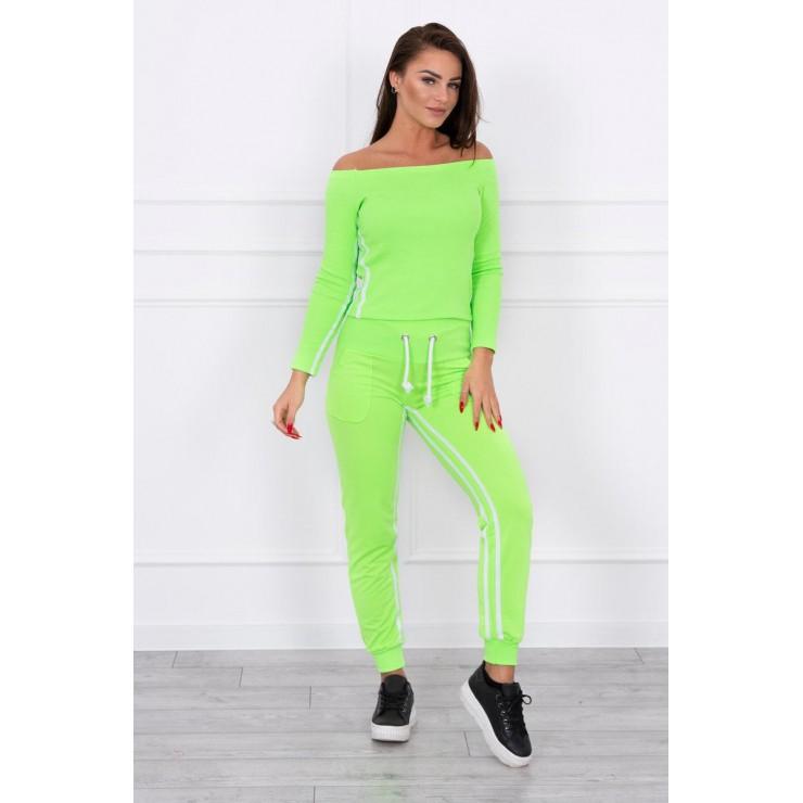 Women's set MI8958 with double stripe green neon