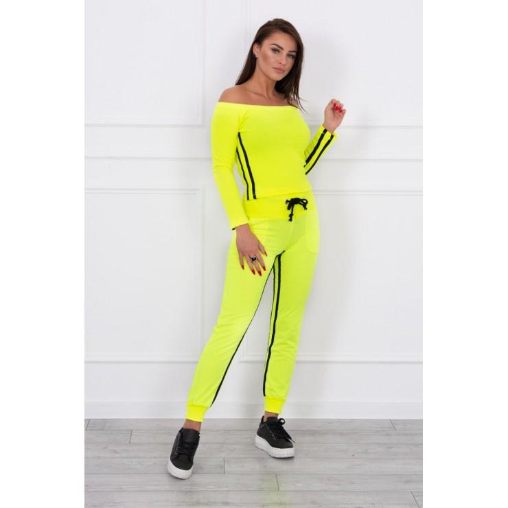 Women's set MI8958 with double stripe yellow neon