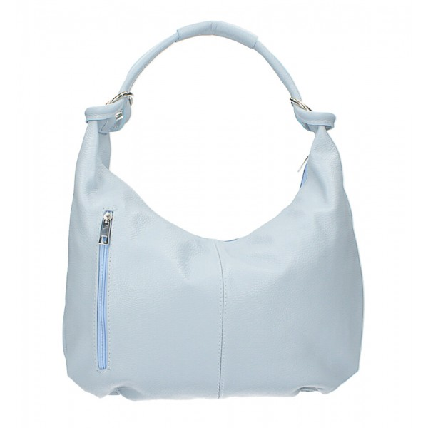 Kožená kabelka na rameno MI340 Made in Italy nebesky modrá Nebesky modrá