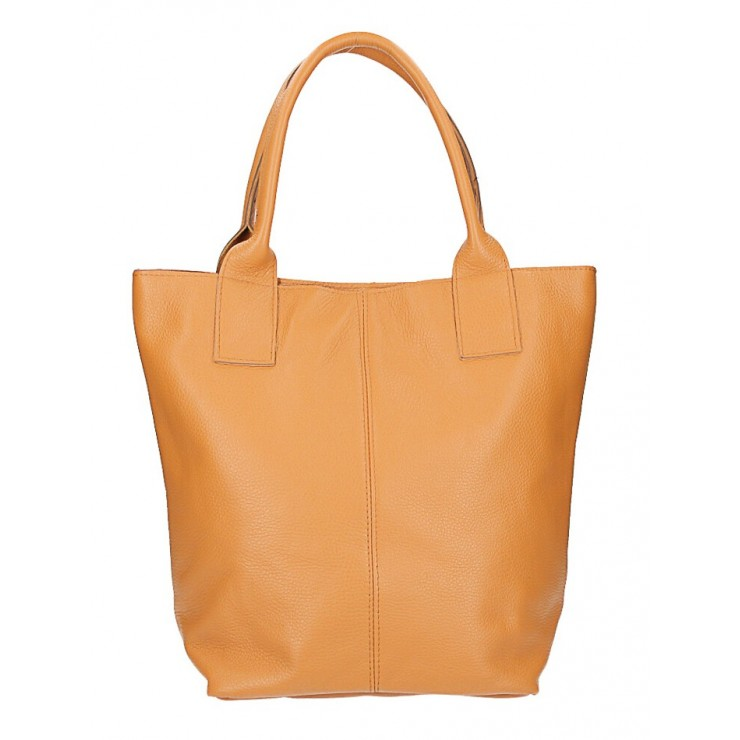 Leather Maxi Bag 1255 Made in Italy cognac