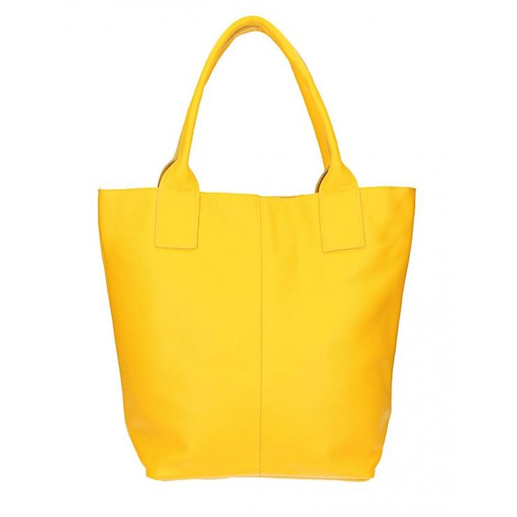 Kožená kabelka na rameno 1255 Made in Italy žltá