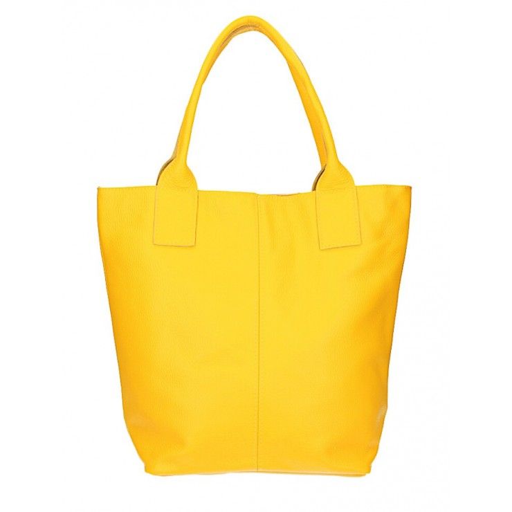 Leather Maxi Bag 1255 Made in Italy yellow