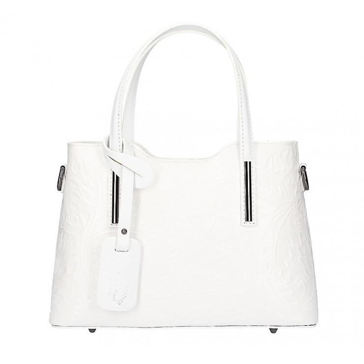 Biela kožená kabelka 1493