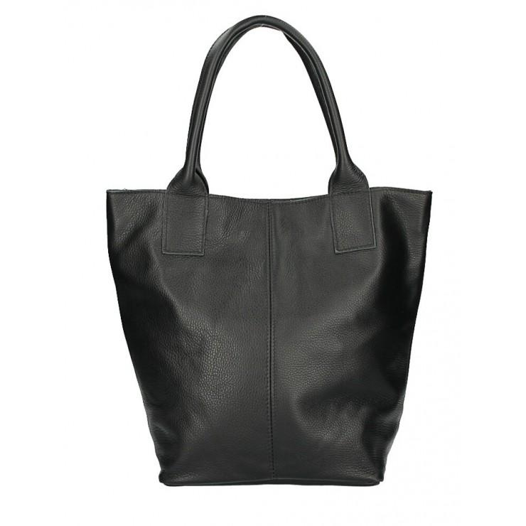 Kožená kabelka na rameno 1255 Made in Italy čierna